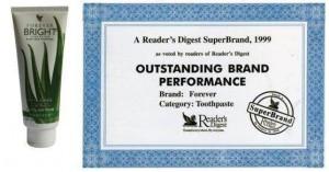 Certificat du Reade's Digest de 1999 pour le Forever Bright